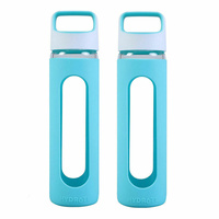 Gourmet Kitchen 2 Piece Glass Water Bottle With Silicone Cover Set Green