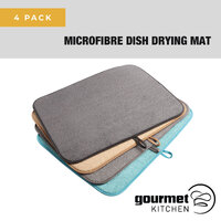 Gourmet Kitchen 4 Pack Multi Coloured Microfibre Drying Mat