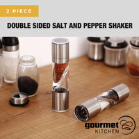 Gourmet Kitchen 2 Piece Double Sided Salt And Pepper Shaker - Silver