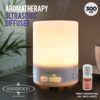 Sherwood Home Aromatherapy Ultrasonic Diffuser With Free Lavander Oil & Light - 300Ml - White