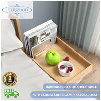 Sherwood Home Bamboo Bed Side Shelf Table With Adustable Clamp - Natural Brown