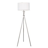 Sherwood Lighting Art Deco Tripod Floor Lamp White - Polished Stainless Steel & White