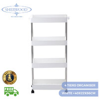 Sherwood 4 Tiers Storage Organiser Trolley White  40x22x86cm