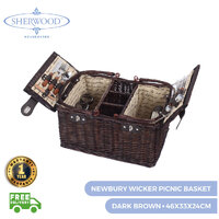 Sherwood Home Newbury Dark Brown Wicker Picnic Basket 4 People  - 46X33X24Cm