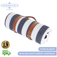 Sherwood Home Picnic Blanket Blue & White Striped 200X150Cm