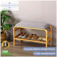 Sherwood Home Foldable Bamboo Cushioned Bench Shoe Storage 2-Tier