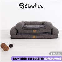 Charlie'S Pet Faux Linen Pet Bolster Sofa Lounge - Dark Grey - Small