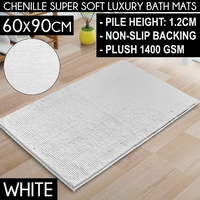 Sherwood Chenille Bath Floor Mat 1400Gsm White