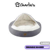 Charlie's Pet Hooded Dog Nest  Grey Extra Large