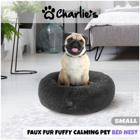 Charlie'S Pet Faux Fur Fuffy Calming Pet Bed Nest Medium Charcoal