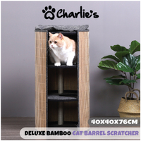 Charlie's Deluxe Bamboo Detachable Cat Barrel Scratcher 40x40x76cm