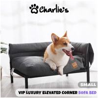 Charlies's VIP Luxury Elevated Corner Sofa Bed - Gunmetal Grey - Small