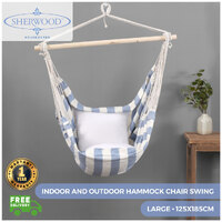 Sherwood Home Indoor and Outdoor Hammock Chair Swing - Light Blue - Large 125x185cm