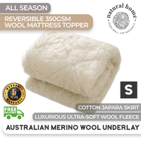 Natural Home All Season Wool Reversible Underlay Single Bed
