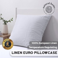 Natural Home European Flax Linen Euro Pillowcase White