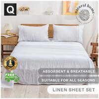 Natural Home European Flax Linen Sheet Set Queen Bed White