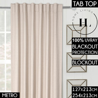 Home Living Linen Classic Metro Blockout Curtains Concealed Tab Top Shades Blackout Curtain Metro 254Cm Width By 213Cm Length