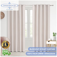 Sherwood Home 100% Blockout Eyelet Curtain Pair Porcelain 225x223cm