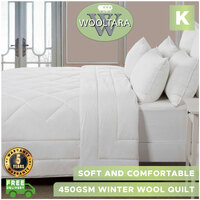 Wooltara Classic 450 Gsm Winter Australian Wool Quilt - King Bed