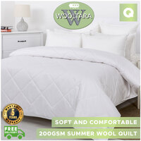 Wooltara Luxury Comfort 200Gsm Washable Summer Australia Wool Quilt Queen Bed