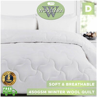 Wooltara Imperial Luxury 450Gsm Washable Winter Australia Alpaca Blend Wool Quilt Double Bed