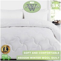 Wooltara Imperial Luxury 450Gsm Washable Winter Australia Alpaca Blend Wool Quilt Super King Bed