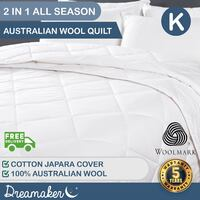 Dreamaker All Season 2 Piece Wool Quilt King Bed