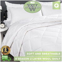 Wooltara Luxury Four Season Two Layer Washable Australian Alpaca Wool Quilt - Queen Bed