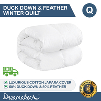 Dreamaker 50/50 White Duck Down & Feather Winterweight Quilt - Queen Bed