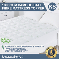 Dreamaker 1000 Gsm Bamboo Covered Ball Fibre Topper King Single Bed