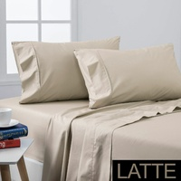 Dreamaker Coolmax Cotton Rich Sheet Set Latte - King Bed