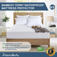 Dreamaker Bamboo Terry Waterproof Mattress Protector King Single Bed