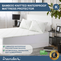 Dreamaker Bamboo Knitted Waterproof Mattress Protector King Bed