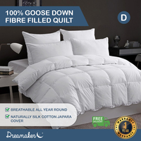 Dreamaker 100% Goose Down Fibre Quilt - Double Bed