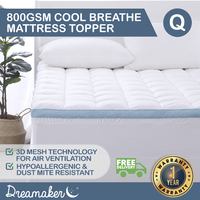 Dreamaker 800Gsm Cool Breathe Memory Fibre Mattress Topper Queen