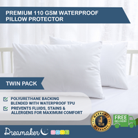 Dreamaker Soft Waterproof Pillow Protector White 2 Pack