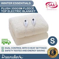 Dreamaker 350 Gsm Fleece Top Electric Blanket Single Bed
