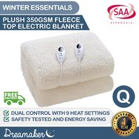Dreamaker 350 Gsm Fleece Top Electric Blanket Queen Bed