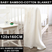 Dreamaker Baby Bamboo Cotton Blanket Muslin Swaddle Soft White 120 x 160cm