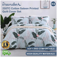 Dreamaker 250TC Cotton Sateen Printed Quilt Cover Set King Single Bed - Coconut