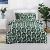 Dreamaker Printed Quilt Cover Set - Single Bed Soft Palms