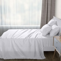 Dreamaker Plain Dyed White Microfibre Flat Sheet - King Single Bed