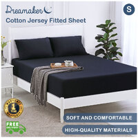 Dreamaker Cotton Jersey Fitted Sheet Navy - Single Bed