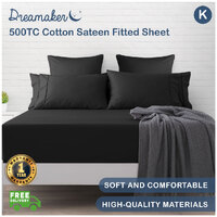 Dreamaker 500TC Cotton Sateen Fitted Sheet King Bed Charcoal