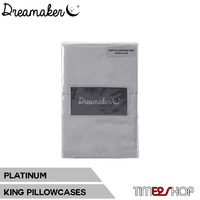 Dreamaker 1000TC Cotton Sateen King Pillowcase Twin Pack Platinum