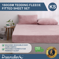 Dreamaker Tedding Fleece Fitted Sheet Set King Single Bed Pink