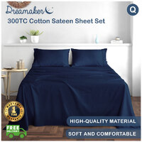 Dreamaker 300Tc Cotton Sateen Sheet Set Queen Bed - Navy