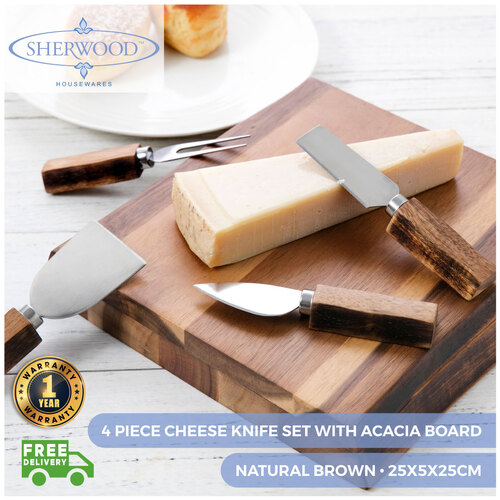 Sherwood Home 4 Piece Cheese Knife Set With Acacia Board - Natural Brown
