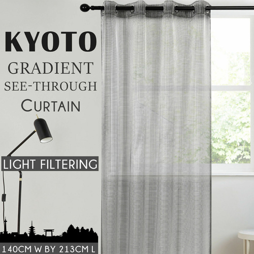 Home Living Kyoto Japan Gradient Grey Light Filtering See Through Curtain Concealed Curtains