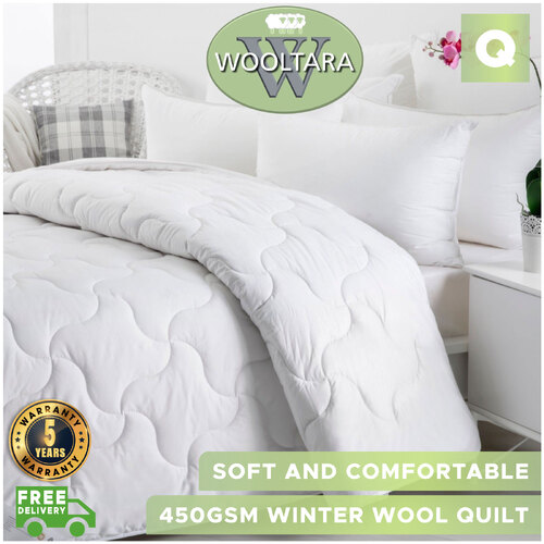 Wooltara Imperial Luxury 450Gsm Washable Winter Australia Wool Quilt - Queen Bed